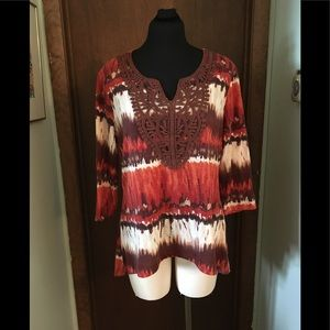 Dressbarn Tie Dye Top NWT Size XL Southwest Look